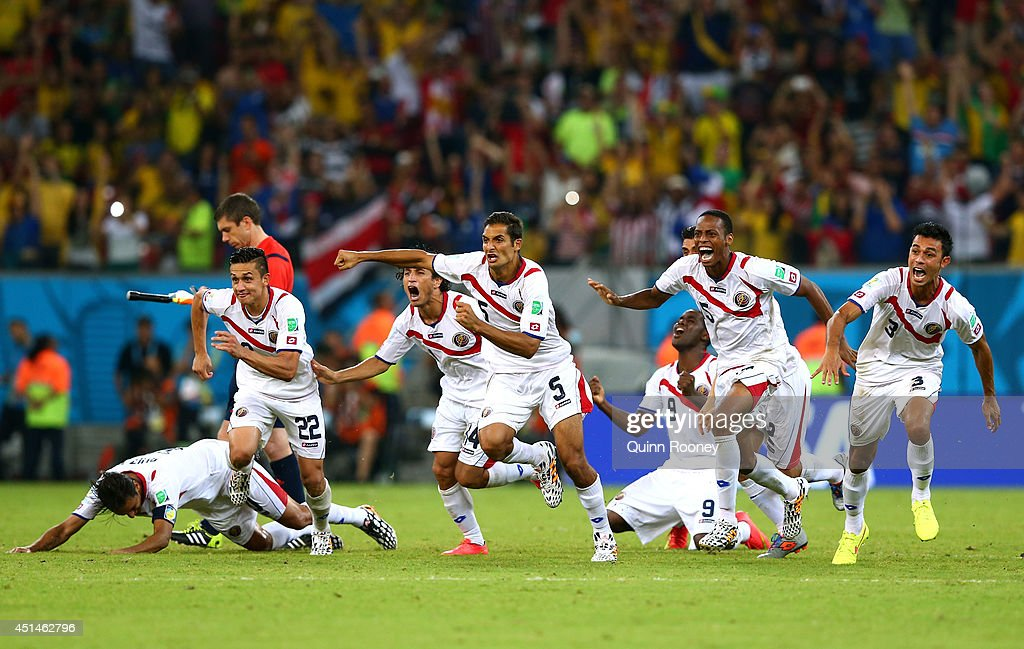 Costa Rica celebrate after defeating Greece in a penalty shootout during the 2014 FIFA World Cup Brazil Round of 16 match between Costa Rica and Greece at Arena Pernambuco on June 29, 2014 in Recife, Brazil.
