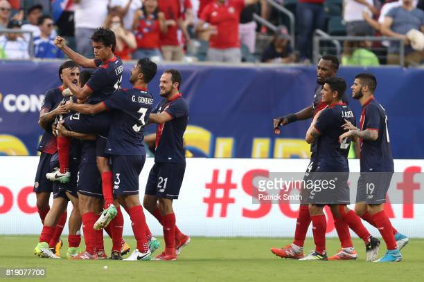 Costa Rica celebrate an owngoal by Panama in the second half during the 2017 CONCACAF Gold Cup Quarterfinal at Lincoln Financial Field on July 19...