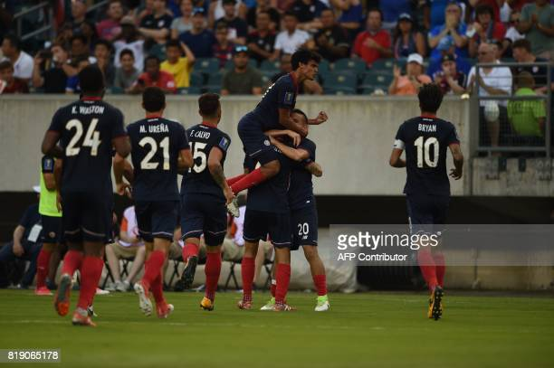 Costa Rica celebrates after panama scored a owngoal during their CONCACAF Gold Cup quarterfinal match on July 19 2017 in Philadelphia Pennsylavania /...
