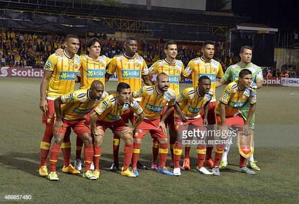Costa Rica Club Sport Herediano team members pose for a photo before their quarter final game of the Concacaf Champions League in Eladio Rosabal...