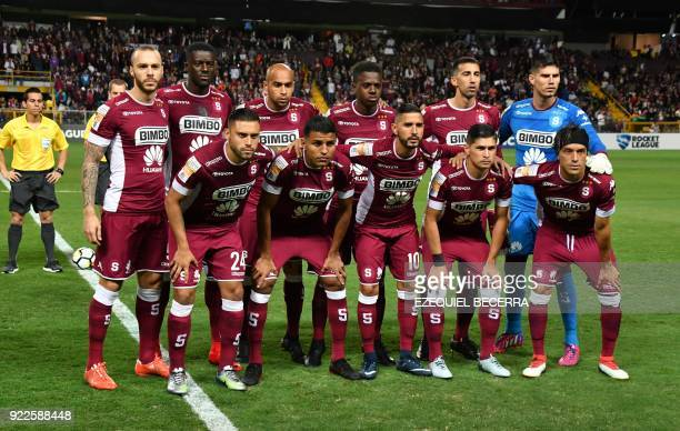 Costa Rica Deportivo Saprissa team poses for the picture before match with Mexicos Club America team during a Concacaf Champions League in Ricardo...