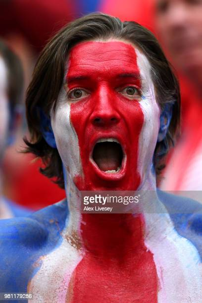 Costa Rica fan enjoys the pre match atmosphere during the 2018 FIFA World Cup Russia group E match between Brazil and Costa Rica at Saint Petersburg...