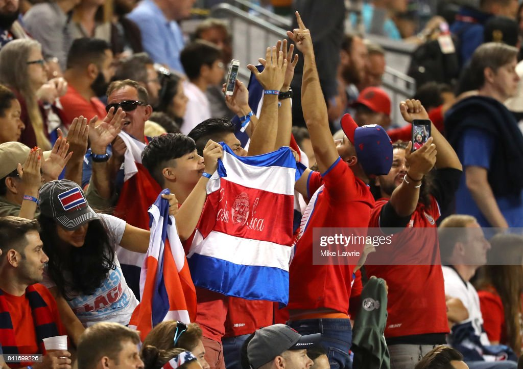 Costa Rica fans celebrate late in the match against the United States during the FIFA 2018 World Cup Qualifier at Red Bull Arena on September 1, 2017 in Harrison, New Jersey.