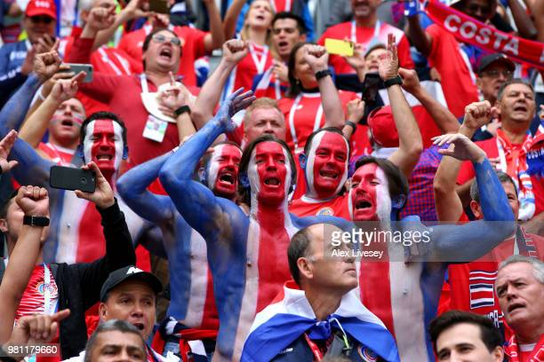 Costa Rica fans enjoy the pre match atmosphere during the 2018 FIFA World Cup Russia group E match between Brazil and Costa Rica at Saint Petersburg...