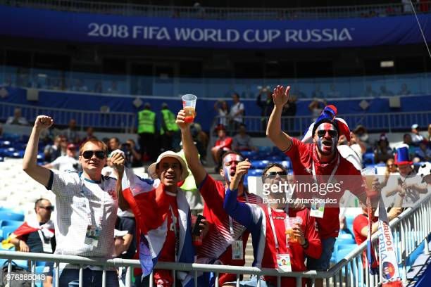 Costa Rica fans enjoy the pre match atmosphere prior to the 2018 FIFA World Cup Russia group E match between Costa Rica and Serbia at Samara Arena on...