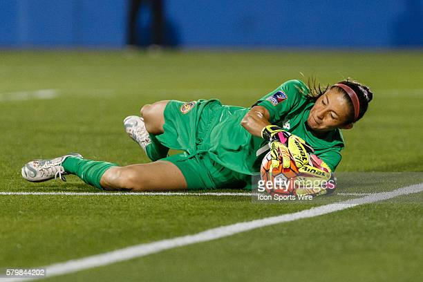 Costa Rica Goalkeeper Dinnia Diaz slides to make a save during the Women's Olympic qualifying soccer game between the Costa Rica and United States...
