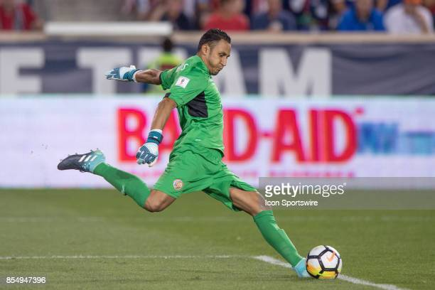 Costa Rica goalkeeper Keylor Navas kicks the ball during a FIFA World Cup Qualifying match between the United States and Cost Rica at Red Bull Arena...