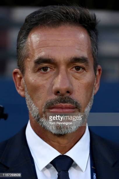 Costa Rica head coach Gustavo Matosas prepares to take on Bermuda in the Costa Rica v Bermuda Group B 2019 CONCACAF Gold Cup at Toyota Stadium on...