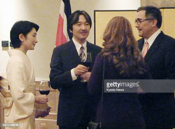 SAN JOSE Costa Rica Japanese Prince Akishino and his wife Princess Kiko attend a reception in San Jose on Jan 27 to celebrate the 75th anniversary of...