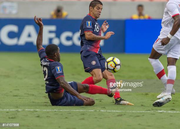 Costa Rica midfielder Joel Campbell slide tackles the ball during the CONCACAF Gold Cup Group A match between Costa Rica and Canada on July 11 2017...