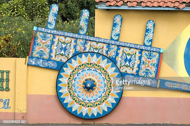 costa rica, painted oxcart - ox cart stock photos and pictures