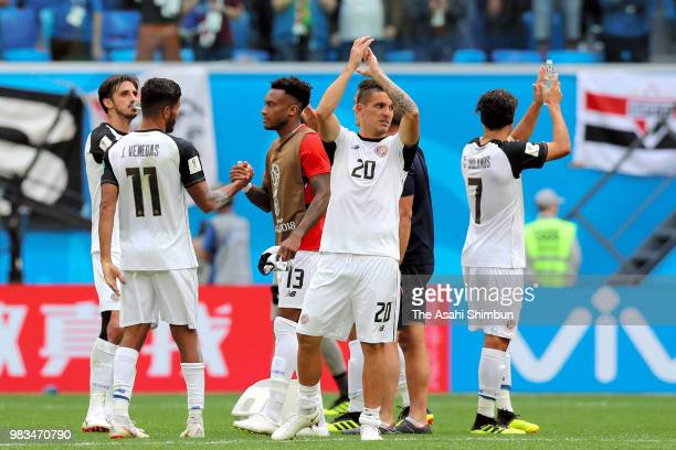 Costa Rica players applaud supporters after their 02 defeat in the 2018 FIFA World Cup Russia group E match between Brazil and Costa Rica at Saint...