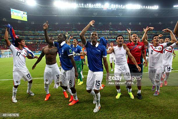 Costa Rica players celebrate the win after the 2014 FIFA World Cup Brazil Round of 16 match between Costa Rica and Greece at Arena Pernambuco on June...