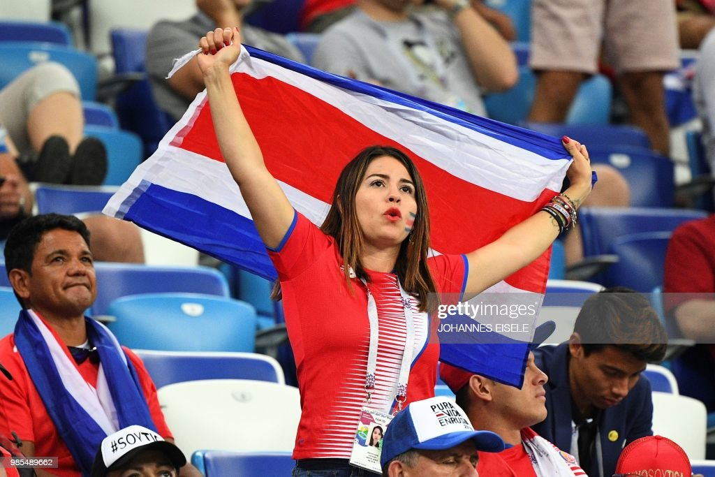 8d8164125 A Costa Rica supporter holds a flag during the Russia 2018 World Cup ...