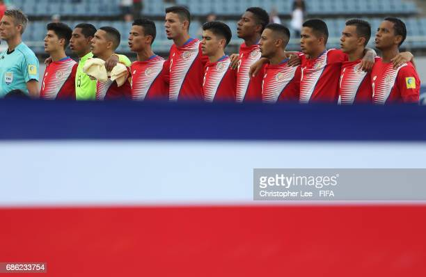 Costa Rica team during their National anthem during the FIFA U20 World Cup Korea Republic 2017 group C match between Iran and Costa Rica at Jeju...