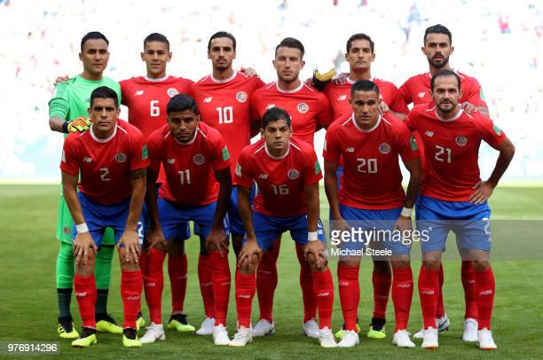 Costa Rica team lines up prior to during the 2018 FIFA World Cup Russia group E match between Costa Rica and Serbia at Samara Arena on June 17 2018...