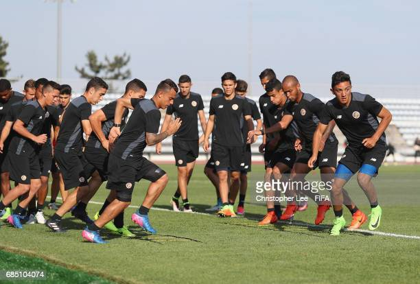 Costa Rica warm up during their training Session at Kang Chang Hak Stadium on May 19 2017 in Jeju South Korea