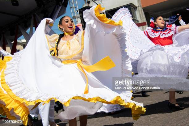 Costa Rica welcomes pilgrims from all over the world with traditional dances during a pilgrimage from Basilica de Los Angeles to Panama for XXXIV...