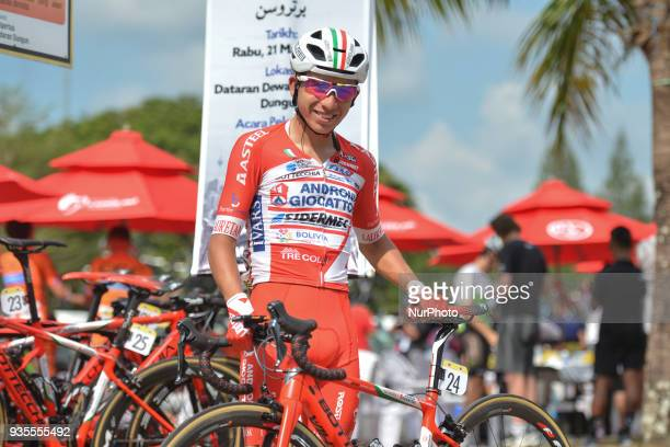 Costa Rican cyclist Kevin Rivera from Androni Giocattoli-Sidermec Team seen during preparations for the fourth stage, a 185km from Dungun to Pekan,...