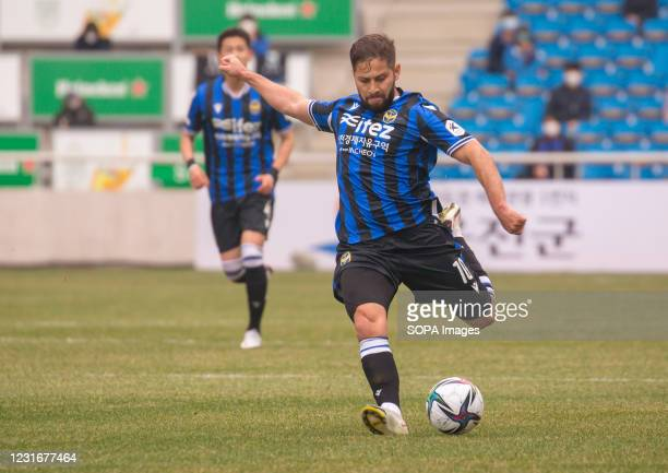 Costa Rican midfielder Elias Aguilar of Incheon United FC in action during the 2nd round of the 2021 K League 1 soccer match between Incheon United...