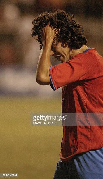 Costa Rican player Cesar Elizondo reacts after their lose in the qualifying in the Concacaf final quadrangular for a place in the Under17 Peru 2005...
