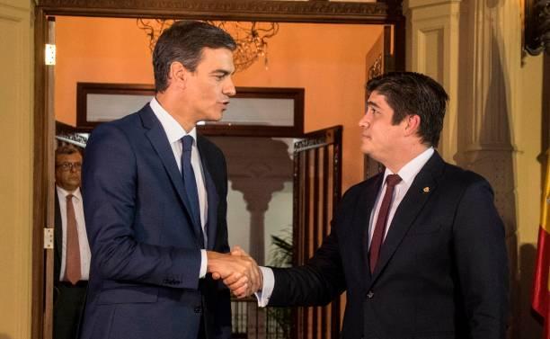Costa rican president carlos alvarado r shakes hand with spanish costa rican president carlos alvarado r shakes hand with spanish prime minister pedro sanchez m4hsunfo