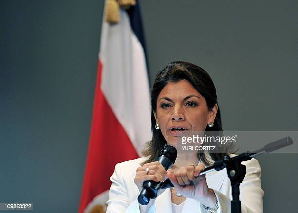 Costa Rican President Laura Chinchilla delivers a speech on March 8 2011 in San Jose after knowing the International Court of Justice's decision on...