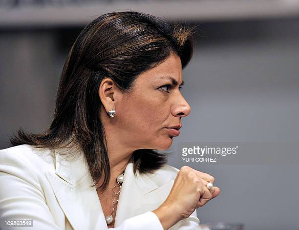 Costa Rican President Laura Chinchilla gestures while delivering a speech on March 8 2011 in San Jose after knowing the International Court of...