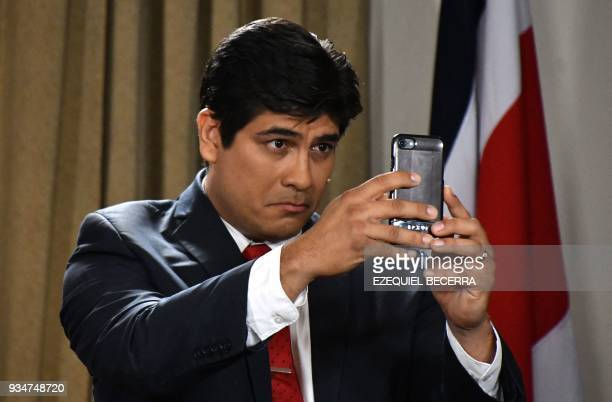 Costa Rican presidential candidate Carlos Alvarado candidate of Costa Rica's governing Citizen Action Party participates in the debate for the...