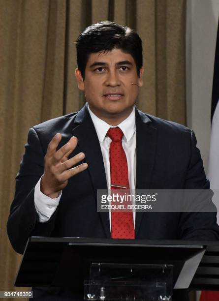 Costa Rican presidential candidate Carlos Alvarado of Costa Rica's governing Citizen Action Party participates in the debate for the country's 2018...