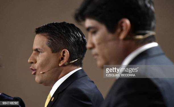 Costa Rican presidential candidate Fabricio Alvarado of National Restoration and Carlos Alvarado candidate of Costa Rica's governing Citizen Action...