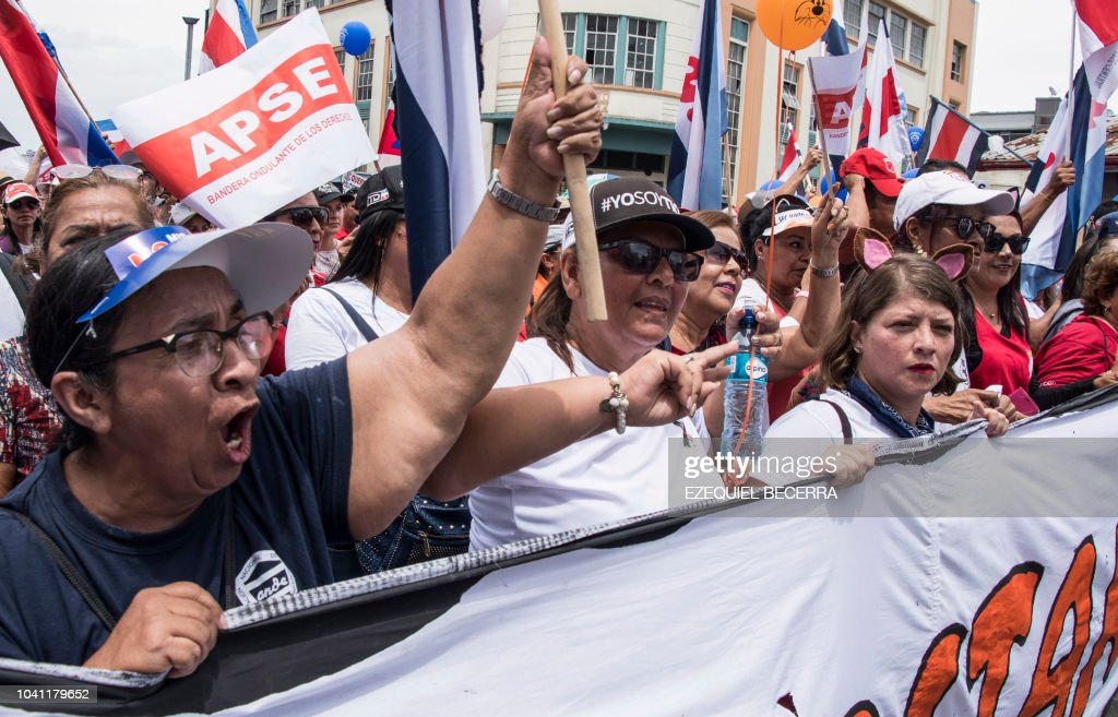 Costa Rican Public Sector Workers Demonstrate During Their