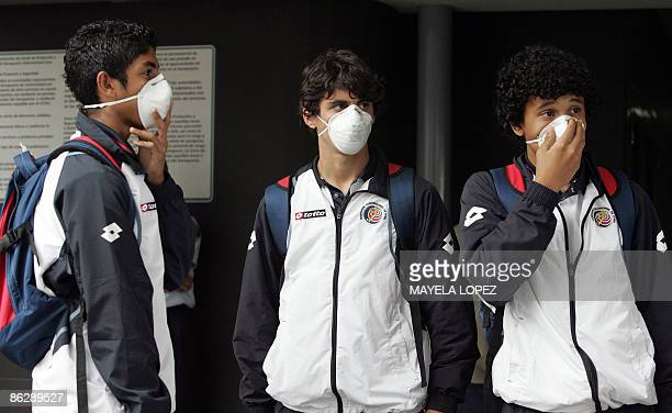 Costa Rican under17 national soccer team players arrive on April 29 2009 at Juan Santamaria International Airport in Alajuela 20 km north of San Jose...