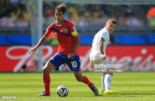 Costa Rica's Bryan Ruiz in action with England's Jack Wilshere