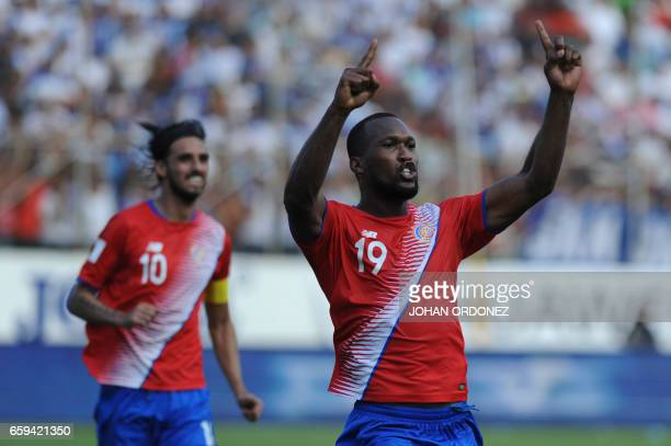 Costa Rica's defender Kendall Waston celebrates after scoring against Honduras during their 2018 FIFA World Cup qualifier football match in San Pedro...