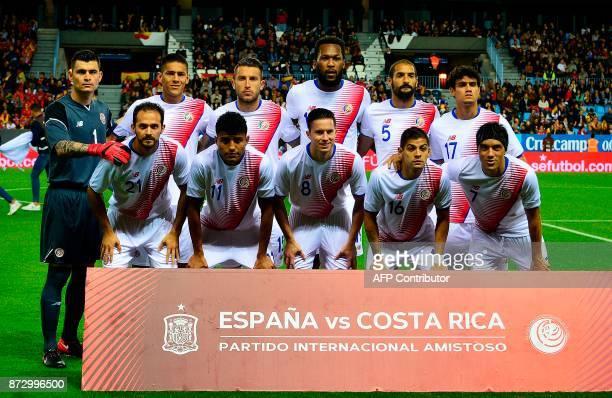 Costa Rica's defender Oscar Duarte Costa Rica's defender Francisco Calvo Costa Rica's midfielder Christian Bolanos Costa Rica's defender Bryan Oviedo...