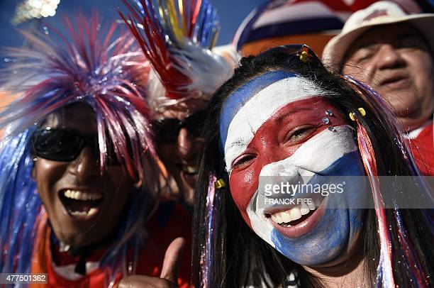 Costa Rica's fans cheer prior to the Group E match at the 2015 FIFA Women's World Cup between Costa Rica and Brazil at Moncton Stadium New Brunswick...