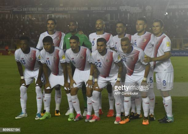 Costa Rica's football team pose for a picture before the start of their 2018 World Cup qualifier football match against Panama in Panama City on...