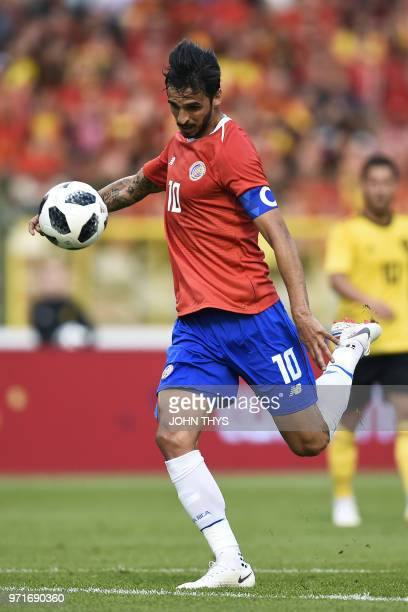 Costa Rica's forward Bryan Ruiz shoots and scores during the international friendly football match between Belgium and Costa Rica at the King...