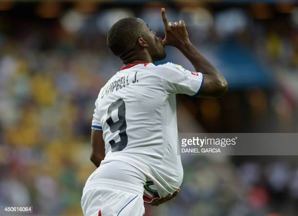 Costa Rica's forward Joel Campbell celebrates after scoring during a Group D football match between Uruguay and Costa Rica at the Castelao Stadium in...