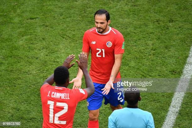 Costa Rica's forward Joel Campbell comes on for Costa Rica's forward Marco Urena during the Russia 2018 World Cup Group E football match between...