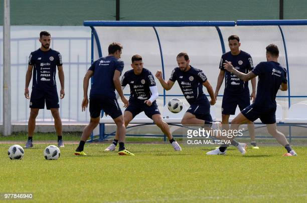 Costa Rica's forward Marco Urena controls the ball during a training session at the Olimpiyets Stadium in Saint Petersburg on June 18 during the...