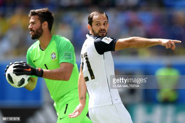 Costa Rica's forward Marco Urena gestures during the Russia 2018 World Cup Group E football match between Brazil and Costa Rica at the Saint...