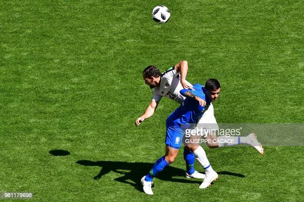 Costa Rica's forward Marco Urena vies with Brazil's defender Fagner during the Russia 2018 World Cup Group E football match between Brazil and Costa...