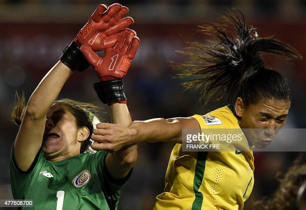 Costa Rica's goalkeeper Dinnia Diaz vies with Brazil's midfielder Beatriz during a Group E match at the 2015 FIFA Women's World Cup between Costa...