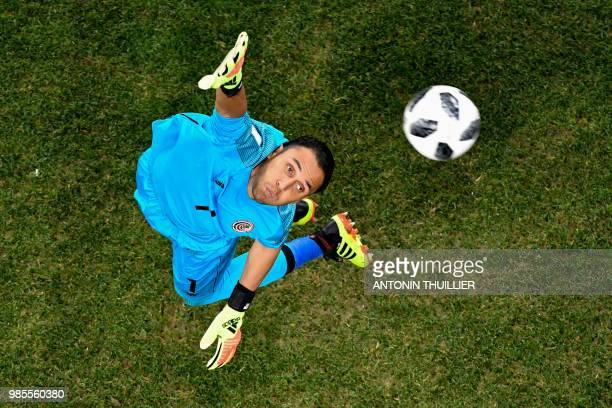 TOPSHOT Costa Rica's goalkeeper Keylor Navas jumps for the ball during the Russia 2018 World Cup Group E football match between Switzerland and Costa...