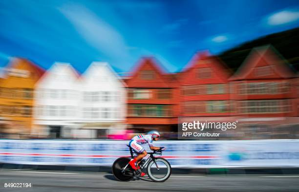 TOPSHOT Costa Rica's Jason Andrey Huertas Araya competes during the men's under 23 individual time trial at the UCI Cycling Road World Championships...