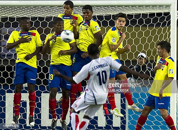 Costa Rica's Joel Campbell shoots a freekick during the FIFA's Under20 World Cup football tournament match against Ecuador held at Hernan Ramirez...
