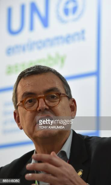 Costa Rica's Minister of Environment and Energy and President of the 2017 UN Environment Assembly Edgar Gutierrez speaks during a press conference on...