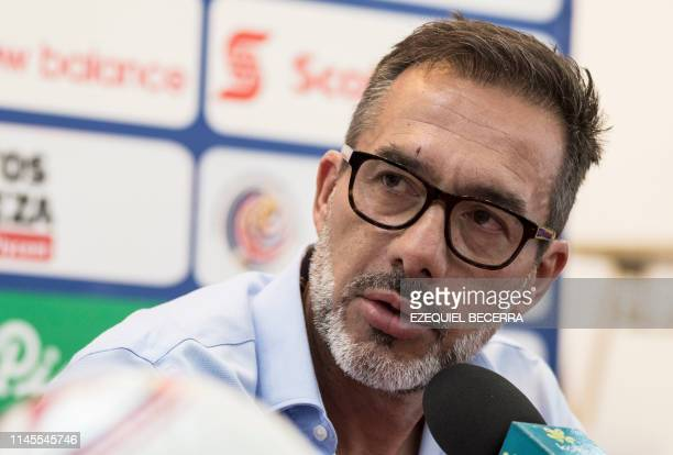 Costa Rica's national football team head coach Gustavo Matosas speaks during a press conference in San Jose Costa Rica on May 22 to announce the list...